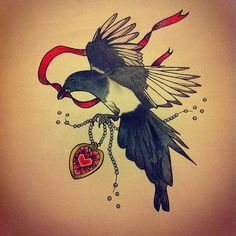 Traditional magpie tattoo - photo#36