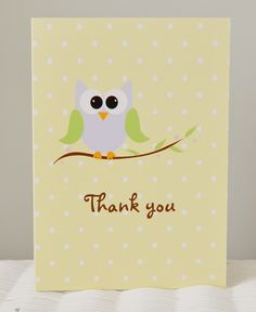 Owl Thank You Card from Zazzle.