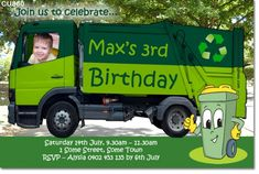 Garbage Bin Truck Boys Birthday Invitation
