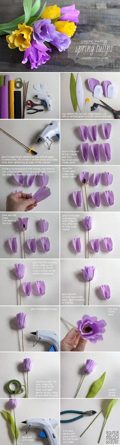 6. #Crepe Paper Tulips - So Many #Pretties! Let's All Make These Paper #Flowers Right Now ... → DIY #Paper