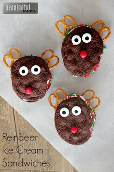 I love having my kids baking in the kitchen with me, and these reindeer ice cream sandwiches were a treat we were able to make together this year. Christmas Activities For Kids, Christmas Snacks, Christmas Projects, Kids Christmas, Christmas Recipes, Christmas Cookies, Great Desserts, Best Dessert Recipes, Cookie Recipes