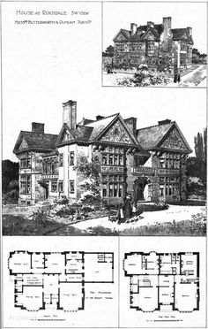 1897 – House at Rochdale, Lancashire. Perspective view, ground and first floor plans. Published in The Building News, February 12th 1897. Architect: Butterworth & Duncan 0145