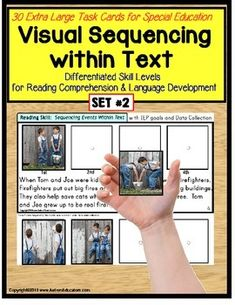 Autism reading comprehension and Sequencing Pictures within Text Task Cards for Special Education WITH DATA (SET# 2) BY POPULAR REQUEST!My students have had such incredible gains in reading comprehension with this activity!  Complete with 30 Extra Large Sequencing Task Cards, reading comprehension becomes a breeze!