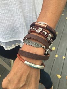 Get the look 4 leather bracelets leather wrap by IndieLeather