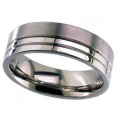 Titanium Wedding Ring - Patterned Titanium Ring