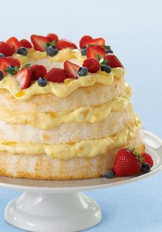 Angel Lush –This Healthy Living angel cake with fresh, ripe strawberries is not only delectable, it's better for you, too, so you can feel heavenly even while enjoying it.