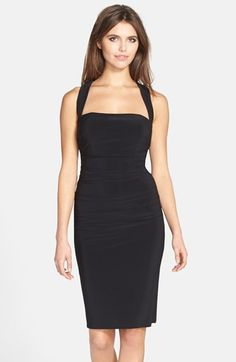 Free shipping and returns on Laundry by Shelli Segal Twist Back Jersey Body-Con Dress at Nordstrom.com. A seductive square neckline pairs with a flattering, ruched silhouette to form a go-to cocktail dress finished with an intriguing strap twist in back.