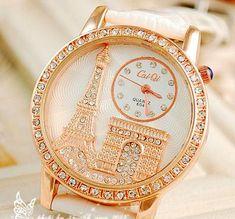 Luxury Crystal Diamond Eiffel Tower Lady Girl Quartz Wrist Dress Watch With Leather Strap Valentine's Day Gift