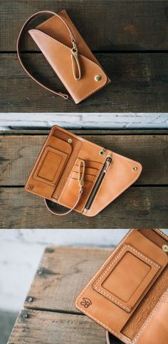 Classic trucker style long wallet made out of 3-4 oz Russet Harness from the famous U.S tannery, Wickett and Craig. -Tether included -Zipper pouch -I.D window -Holds up to 10 cards -Full length bill s