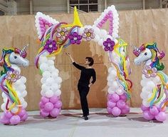 Tag a friend who must have this balloons 🎈 # Balloon Garland, Balloon Arch, Balloon Decorations, Birthday Party Decorations, Unicorn Themed Birthday Party, Glitter Birthday, 1st Birthday Parties, Rainbow Birthday, Deco Ballon