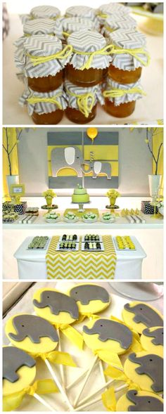 Yellow & Gray Chevron Baby Shower Ideas (Elephant Theme) I like this but I want it to be narwhals Baby Shower Chevron, Grey Baby Shower, Boy Baby Shower Themes, Baby Shower Fun, Baby Shower Gender Reveal, Baby Shower Parties, Baby Boy Shower, Baby Shower Decorations, Elephant Baby Showers