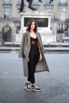 Get this look: http://lb.nu/look/8551925  More looks by Laugh of Artist: http://lb.nu/laughofartist  Items in this look:  Yayou Coat, Yayou Pants, Vans Baskets, Paloma Casille Body   #chic #elegant #minimal