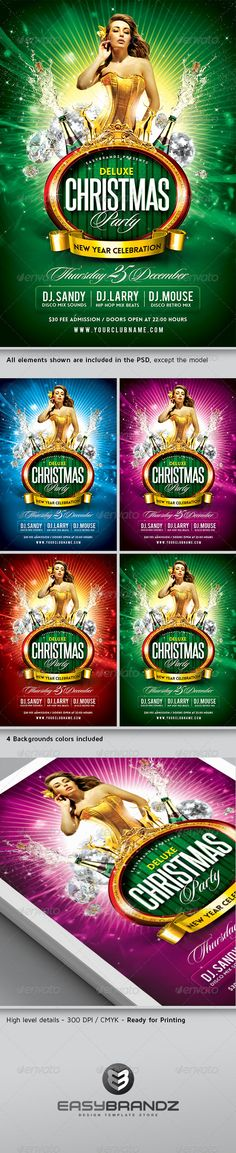 Buy Deluxe Christmas Party Flyer Template by on GraphicRiver. A modern, luxurious and unique flyer template for your next Christmas Party. Easy to modify, like changing colors, di. Christmas Flyer Template, New Year 2014, Festival Flyer, Moise, Information Graphics, Party Flyer, Print Templates, Holiday Fun, Techno