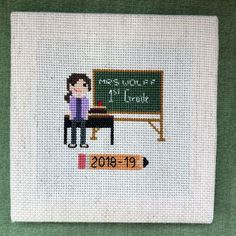 Last teacher gift done, with five days to spare! Cross Stitching, Cross Stitch Embroidery, Love Knitting Patterns, Teachers' Day, Art Projects, Project Ideas, Teacher Appreciation, Teacher Gifts, Quilts