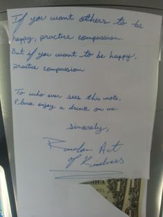 Random Act of Kindness. Love the quote on this one