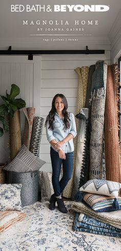 Designer, remodeler and mom of four, Joanna Gaines had homes like yours in mind when she created the Magnolia Home collection. Now available at Bed Bath & Beyond, the rugs, pillows and throws in this Chip And Joanna Gaines, Chip Gaines, Joanna Gaines Rugs, Joanna Gaines Living Room, Magnolia Homes, Magnolia Farms, Magnolia Market, Gaines Fixer Upper, Magnolia Home Collection