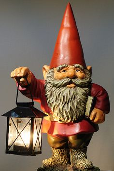 Elves Faeries Gnomes:  #Gnome, lantern, and book.
