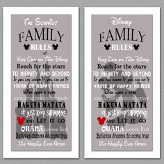 A personal favorite from my Etsy shop https://www.etsy.com/listing/268680725/disney-family-rules-print-10x20
