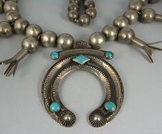 Old Navajo Squash Blossom Necklace w Turquoise Horned Naja | eBay