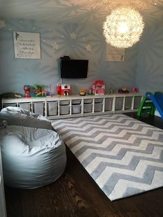 Peter Pan Quote Inspired Playroom - love the organization and neutral color scheme!