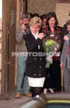 13 January, 1995 The Princess of Wales departs the Centrepoint charity's cold weather shelter in London's Leicester Square