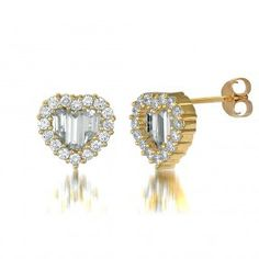 Gold Plated Sterling Silver Cubic Zirconia CZ Heart Halo Stud Earrings