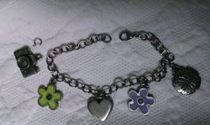 Danforth Pewter Charm Bracelet Flower Camera Sand Dollar Travel Theme Chain link #Danforth #Traditional