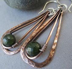 Hammered Copper Earrings with Canadian Jade/ Copper Hammered  earrings/ Artisan Earrings