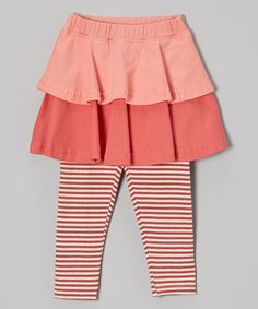 Look at this #zulilyfind! Coral Stripe Skirted Leggings - Infant by Origany #zulilyfinds