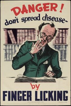 ☤ MD ☞☆☆☆ Danger! Don't spread disease by finger licking. 1950s.