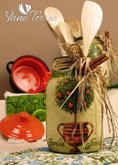 Pintado Botellas – Oferta | ArteClases.com Decoupage, Jar, Table Decorations, Ideas Para, Bottles, Country, Home Decor, Decorated Bottles, Ideas