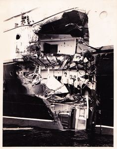 Closeup photo of damage to the CPR Princess Kathleen, after colliding with the CNR Prince Rupert, September 1951.