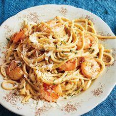 Poblano Cream Pasta with Shrimp