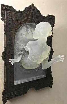 sculpture of a Victorian ghost emerging from an antique mirror cast in resi. - sculpture of a Victorian ghost emerging from an antique mirror cast in resin. Inspiration Art, Art Inspo, Arte Peculiar, Goth Home, Gothic Home Decor, Gothic Interior, Victorian Gothic Decor, Gothic Room, Modern Gothic