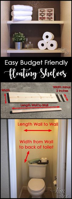 How to install bathroom shelves on a budget. This version is easy to install, doesn't require any complex tools, cost less than FIVE DOLLARs and they look great! Cheap Bathroom Remodel, Cheap Bathrooms, Budget Bathroom, Bathroom Ideas, Bathroom Remodeling, Shower Ideas, Restroom Remodel, Bathroom Showers, House Remodeling