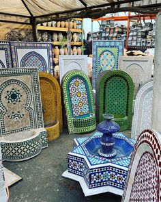 Moroccan Pottery and Ceramics inspiration from Badia Design - Everything About The House Modern Moroccan Decor, Moroccan Art, Moroccan Theme, Moroccan Interiors, Moroccan Design, Moroccan Style, Moroccan Kitchen, Outdoor Wall Fountains, Garden Fountains