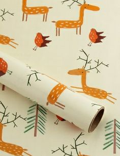Cute paper for kids - Stags & Robins Christmas Wrapping Paper