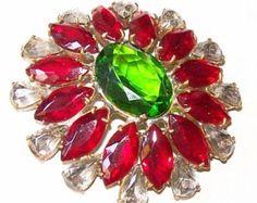 "Vintage Art Deco Brooch Pin Green Red & Smoke Rhinestones Gold Metal Large Oval 2.5"" VG"