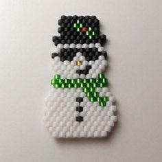 Snowman - Brick Stitch (honimansi) Tags: snowman beadweaving brickstitch beadwoven tohoaikobeads