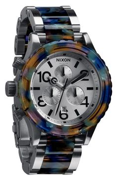 OK folks...the other all colorful one I posted is now sold out at Bloomingdale's. Here is another version w. silver combo. Nixon 'The 42-20 Chrono Watercolor' Bracelet Watch