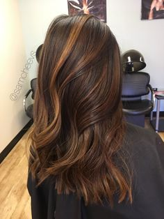 Golden honey caramel highlights for brown hair. Highlights for dark hair types / Asian / Indian / Hispanic / ethnic thick hair