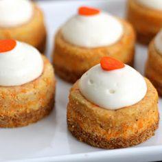 Mini Carrot Cake Cheesecakes (graham cracker crumbs, cream cheese, grated carrot, lemon juice)