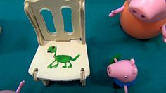 Peppa Pig in English. George paints dinosaur. Peppa and George paint in ...