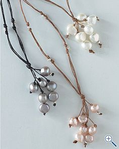 Fringe pearl necklaces. Easy DIY