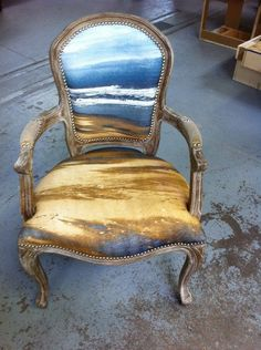 Beach Arm Chair. Upholstering a chair coastal style: http://www.completely-coastal.com/2012/06/upholstering-chair-coastal-style.html #coastalstylefashion #ArmChair #UpholsteredChair
