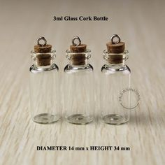 3ml Mini small glass bottles vials jars with corks decorative corked glass test tube bottle with cork for pendants mini 50pcs