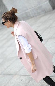 Pink Sleeveless Coat - streetstyle inspiration