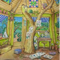 やっと完成しましたツリーハウスの中 #ロマンティックカントリー #水彩色鉛筆 #色鉛筆 #コロリアージュ #大人の塗り絵 #塗り絵 #ぬりえ
