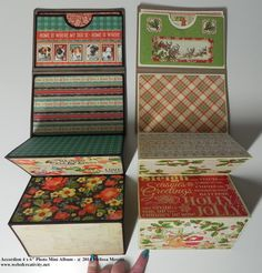 really cute and super fast project, which, I think would make great Christmas gifts. It's called Accordion 4 x Mini . Mini Photo Albums, Mini Albums Scrap, Mini Scrapbook Albums, Album Photo, Christmas Mini Albums, Christmas Gifts, Accordion Book, Mini Album Tutorial, Fancy Fold Cards