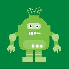 Nursery Art 'The Robot Crew - Connor' - in Green - 6x6 Robot Art Print
